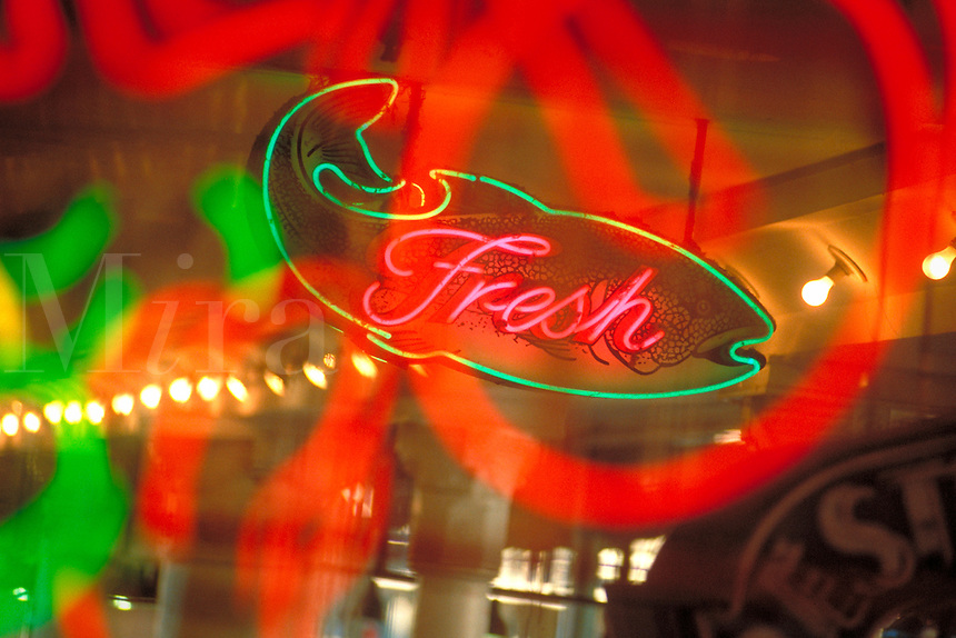 Neon fresh seafood sign. Seattle Washington United States.