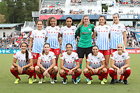 Cary, NC - Sunday October 08, 2017: Chicago starters. Front row (from left): Jennifer Hoy, Arin Gilliland, Christen Press, Vanessa DiBernardo, Julie Ertz; Back row (from left): Danielle Colaprico, Casey Short, Samantha Johnson, Alyssa Naeher, Sofia Huerta, and Kathleen Naughton prior to a National Women's Soccer League (NWSL) semifinals match between the North Carolina Courage and the Chicago Red Stars at Sahlen's Stadium at WakeMed Soccer Park. The North Carolina Courage won the game 1-0.