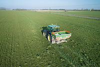 Spreading urea onto grassland - Lincolnshire, February