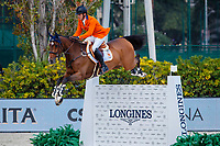 NED-Harrie Smolders rides Monaco during the Longines FEI Jumping Nations Cup™ Final Competition. 2021 ESP-Longines FEI Jumping Nations Cup Final. Real Club de Polo, Barcelona. Spain. Sunday 3 October 2021. Copyright Photo: Libby Law Photography