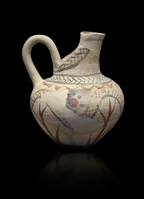 Cycladic cut away jug with floral and net pattern.   Cycladic (1650-1450 BC) , Phylakopi III, Melos. National Archaeological Museum Athens. Cat no 5757.  Black background.<br /> <br /> <br /> This jug has a strainer in the spout with floral patterns. Ceramic shapes and painted style are heavily influenced by Minoan styles during this period. Dark floral and spiral patterns are painted over a lighted backgound with wavy bands.