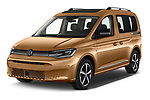 2021 Volkswagen Caddy Style 5 Door Mini MPV Angular Front automotive stock photos of front three quarter view