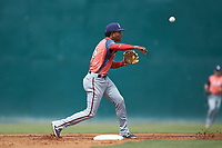 Hagerstown Suns shortstop Yasel Antuna (5) makes a throw to first base against the Kannapolis Intimidators at Kannapolis Intimidators Stadium on May 6, 2018 in Kannapolis, North Carolina. The Intimidators defeated the Suns 4-3. (Brian Westerholt/Four Seam Images)