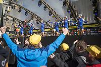 The Quick Step team and fans cheering Tom Boonen onto the podium for his last Tour of Flanders<br /> <br /> 101st Ronde van Vlaanderen  2017 (1.UWT)<br /> 1day race: Antwerp-Oudenaarde (260km)