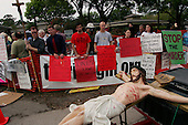 Pinellas Park, Florida.USA.March 25, 2005..Protesters outside the Woodside Hospice where Terri Schiavo is bedded. As Terri Schiavo's health waned, a federal judge refused to order the reinsertion of her feeding tube, thwarting another legal move from the brain-damaged woman's parents. Schiavo's feeding tube was removed by court order on  March 18, 2005.