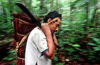 """Índio Werekena morador da comunidade de Anamoim no alto rio Xié carrega um fardo chamado de """" piraíba"""" carregado de fibras de piaçaba(Leopoldínia píassaba Wall). A fibra , um dos principais produtos geradores de renda na região é coletada de forma rudimentar. Até hoje é utilizada na fabricação de cordas para embarcações, chapéus, artesanato e principalmente vassouras, que são vendidas em várias regiões do país.<br />Alto rio Xié, fronteira do Brasil com a Venezuela a cerca de 1.000Km oeste de Manaus.<br />06/06/2002.<br />©Foto: Paulo Santos/Interfoto<br />Negativo Cor 135 Nº 8326 T5 F21 Expedição Werekena do Xié<br /> <br /> Os índios Baré e Werekena (ou Warekena) vivem principalmente ao longo do Rio Xié e alto curso do Rio Negro, para onde grande parte deles migrou compulsoriamente em razão do contato com os não-índios, cuja história foi marcada pela violência e a exploração do trabalho extrativista. Oriundos da família lingüística aruak, hoje falam uma língua franca, o nheengatu, difundida pelos carmelitas no período colonial. Integram a área cultural conhecida como Noroeste Amazônico. (ISA)"""