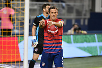 KANSAS CITY, KS - SEPTEMBER 02: Reto Ziegler #3 of FC Dallas gives instructions during a game between FC Dallas and Sporting Kansas City at Children's Mercy Park on September 02, 2020 in Kansas City, Kansas.