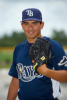 GCL Rays pitcher Roel Ramirez (8) poses for a photo after a game against the GCL Orioles on July 20, 2013 at Charlotte Sports Complex in Port Charlotte, Florida.  GCL Orioles defeated the GCL Rays 4-1.  (Mike Janes/Four Seam Images)