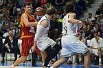 Real Madrid´s Sergio Llull and Andres Nocioni and Galatasaray´s Erceg during 2014-15 Euroleague Basketball match between Real Madrid and Galatasaray at Palacio de los Deportes stadium in Madrid, Spain. January 08, 2015. (ALTERPHOTOS/Luis Fernandez)