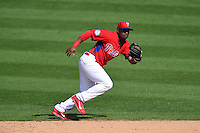 Philadelphia Phillies infielder Chris Nelson (27) during an exhibition game against the University of Tampa on March 1, 2015 at Bright House Field in Clearwater, Florida.  University of Tampa defeated Philadelphia 6-2.  (Mike Janes/Four Seam Images)