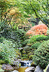 Stream in Japanese Garden with Moon Bridge.  The Japanese Garden in Portland is a 5.5 acre respit.  Said to be one of the most authentic Japanese Garden's outside of Japan, the rolling terrain and water features symbolize both peace and strength.