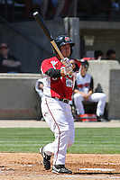 Sean Danielson #8 of the Carolina Mudcats hitting during a game against the Montgomery Biscuits on April 18, 2010 in Zebulon, NC.