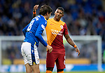 St Johnstone v Galatasaray…12.08.21  McDiarmid Park Europa League Qualifier<br />Patrick van Aanholt and Murray Davidson<br />Picture by Graeme Hart.<br />Copyright Perthshire Picture Agency<br />Tel: 01738 623350  Mobile: 07990 594431