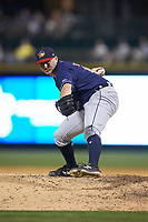 Toledo Mud Hens relief pitcher John Schreiber (28) in action against the Charlotte Knights at BB&T BallPark on April 24, 2019 in Charlotte, North Carolina. The Knights defeated the Mud Hens 9-6. (Brian Westerholt/Four Seam Images)