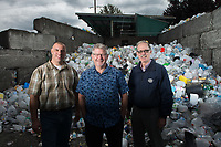 Northwest Recycling Operations Manager Marty Kuljis and Northwest Recycling CEO Kevin Moore and Sanitary Service Company Recycling Manager Rodd Pemble, photographed at Northwest Recycling in Bellingham, Wash. Bellingham is one of only a handful of cities in Washington state without single-stream recycling, so residents must sort their recyclable items into three separate bins. <br /> Photo by Daniel Berman