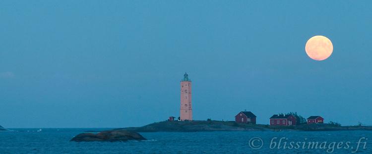 Söderskär Lighthouse Finland at Full Moon -panoramic