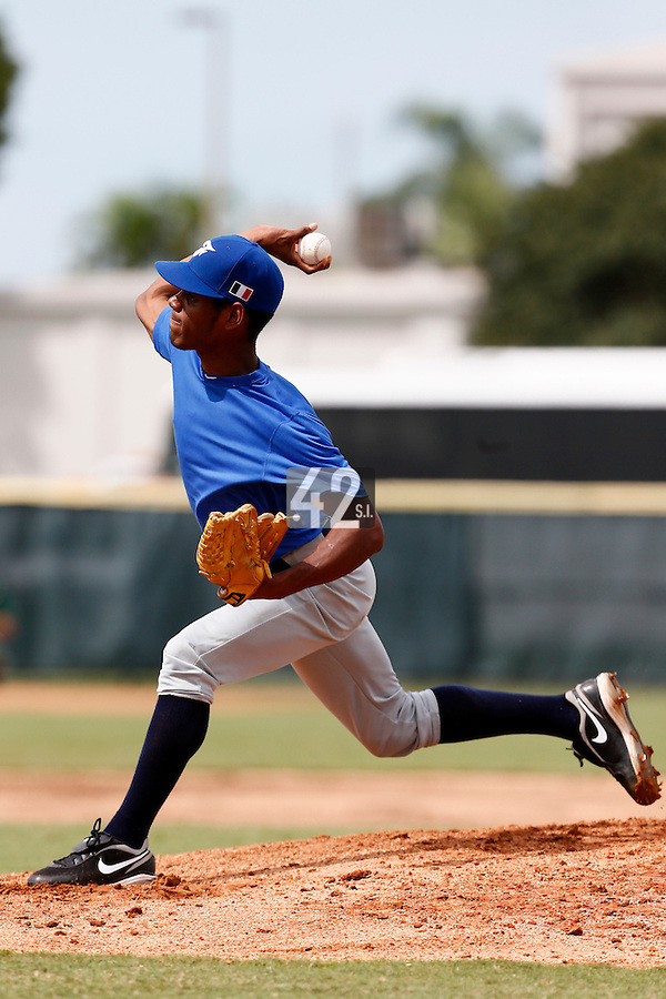 19 September 2012: Starting pitcher Leonel Cespedes pitches during Team France friendly game won 6-3 against Palm Beach State College, during the 2012 World Baseball Classic Qualifier round, in Lake Worth, Florida, USA.