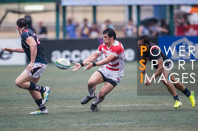 Ryoto Nakamura of Japan (C) in action during the Asia Rugby Championship 2017 match between Hong Kong and Japan on May 13, 2017 in Hong Kong, China. Photo by Marcio Rodrigo Machado / Power Sport Images