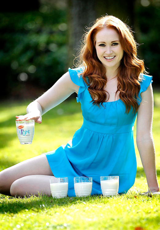 Model and milk lover Naomi Cullen is pictured at the launch of new Avonmore Light 1% in St Stephen's Green.Pic. Robbie Reynolds.