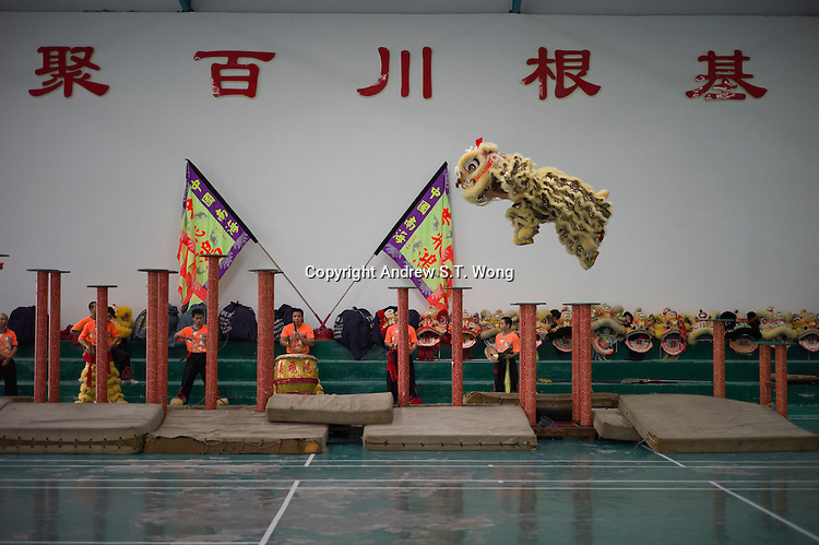 Masters perform traditional lion dance on pillars at Wong Fei-hung Martial Arts Training Base in Dali of Nanhai district in Foshan city, Guangdong province, November 11, 2011.