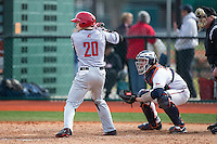 Sebastian DiMauro (20) of the Hartford Hawks at bat against the Virginia Cavaliers at The Ripken Experience on February 27, 2015 in Myrtle Beach, South Carolina.  The Cavaliers defeated the Hawks 5-1.  (Brian Westerholt/Four Seam Images)