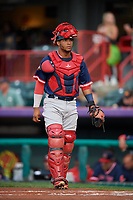 Portland Sea Dogs catcher Jhon Nunez (2) during an Eastern League game against the Erie SeaWolves on June 17, 2019 at UPMC Park in Erie, Pennsylvania.  Portland defeated Erie 6-3.  (Mike Janes/Four Seam Images)
