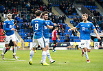 St Johnstone v St Mirren…27.10.18…   McDiarmid Park    SPFL<br />Matty Kennedy celebrates his goal with Chris Kane, Joe Shaughnessy and David Wotherspoon<br />Picture by Graeme Hart. <br />Copyright Perthshire Picture Agency<br />Tel: 01738 623350  Mobile: 07990 594431
