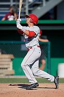 Auburn Doubledays left fielder Pablo O'Connor (28) follows through on a swing during a game against the Batavia Muckdogs on September 2, 2018 at Dwyer Stadium in Batavia, New York.  Batavia defeated Auburn 5-4.  (Mike Janes/Four Seam Images)