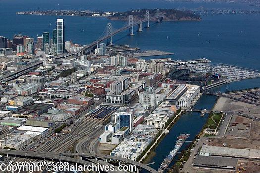 Aerial photograph Mission Bay CalTrain Giants Ballpark Islais Creek San Francisco California