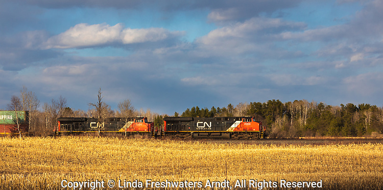 CN freight train passing through a farming community in Exeland, Wisconsin.