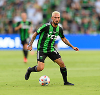 AUSTIN, TX - JUNE 19: Diego Fagundez #14 of Austin FC looks to pass the ball during a game between San Jose Earthquakes and Austin FC at Q2 Stadium on June 19, 2021 in Austin, Texas.