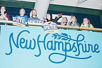 People watch the results come in and await the arrival of Democratic presidential candidate and former South Bend, Ind., mayor Pete Buttigieg at his Primary Night rally at Nashua Community College in Nashua, New Hampshire, on Tue., Feb. 11, 2020. Democratic presidential candidate and Vermont senator Bernie Sanders was projected to win the New Hampshire Democratic Primary, but Buttigieg came in a close second.