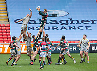 20th February 2021; Welford Road Stadium, Leicester, Midlands, England; Premiership Rugby, Leicester Tigers versus Wasps; Hanro Liebenberg of Leicester Tigers catches the ball during a line out