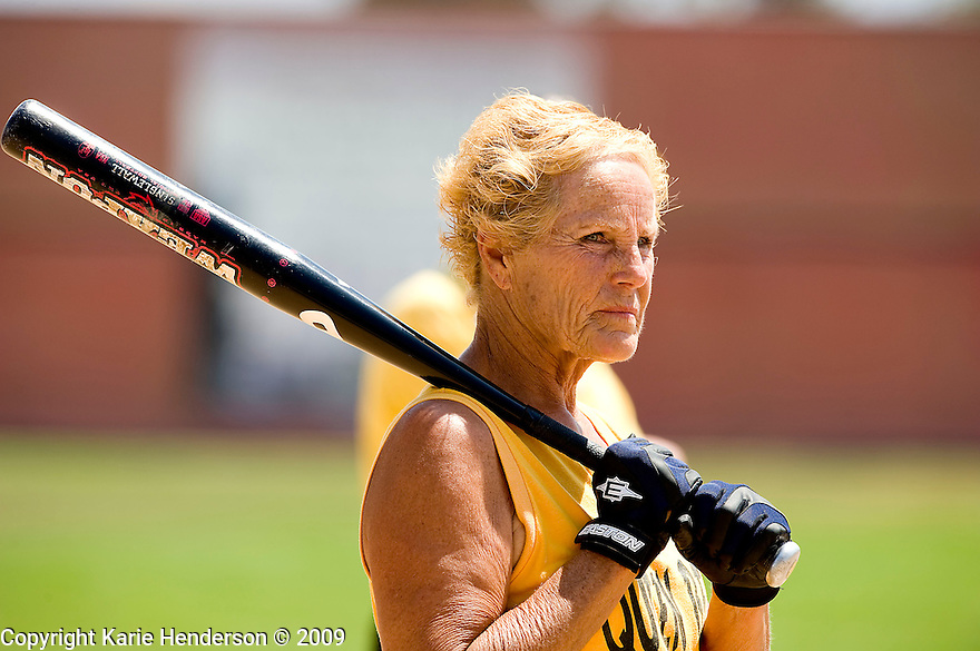 Marie Boychuk of the Queen Bees Women's 65+ Softball team prepares to step up to plate. During the Senior Games 2009, at Twin Creeks Sports Complex, in Sunnyvale, Calif., on Saturday, August 08, 2009.