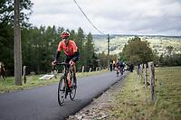 Michaël Schär (SUI/CCC) is the race leader up the Côte de Stockeu<br /> <br /> 106th Liège-Bastogne-Liège 2020 (1.UWT)<br /> 1 day race from Liège to Liège (257km)<br /> <br /> ©kramon