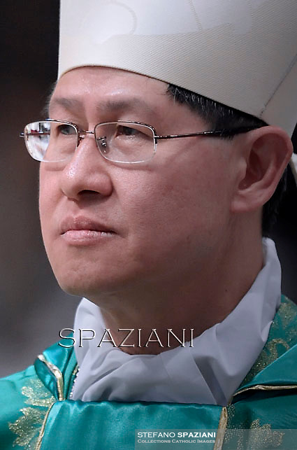 Cardinal Luis Antonio Tagle.Pope Francis leads a mass for the Synod on the Familyin St. Peter's Basilica at the Vaticann. October 5, 2014