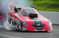 Jun. 19, 2011; Bristol, TN, USA: NHRA funny car driver Cruz Pedregon during eliminations at the Thunder Valley Nationals at Bristol Dragway. Mandatory Credit: Mark J. Rebilas-