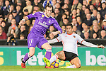 Gareth Bale (l) of Real Madrid battles for the ball with Joao Cancelo of Valencia CF during their La Liga match between Valencia CF and Real Madrid at the Estadio de Mestalla on 22 February 2017 in Valencia, Spain. Photo by Maria Jose Segovia Carmona / Power Sport Images