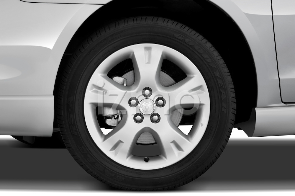 Tire and wheel close up detail view of a 2008 Toyota Matrix wagon