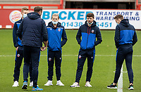 (l-r): Bolton Wanderers' Eoin Doyle , Lloyd Isgrove , Andrew Tutte and Tom White chat to head coach  Ian Evatt   <br /> <br /> Photographer Andrew Kearns/CameraSport<br /> <br /> The EFL Sky Bet League Two - Stevenage v Bolton Wanderers - Saturday 21st November 2020 - Lamex Stadium - Stevenage<br /> <br /> World Copyright © 2020 CameraSport. All rights reserved. 43 Linden Ave. Countesthorpe. Leicester. England. LE8 5PG - Tel: +44 (0) 116 277 4147 - admin@camerasport.com - www.camerasport.com