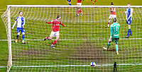 17th February 2021, Oakwell Stadium, Barnsley, Yorkshire, England; English Football League Championship Football, Barnsley FC versus Blackburn Rovers; The ball goes in the net after 72 minutes to make it 1-0 to Barnsley after a Carlton Morris of Barnsley strike