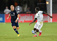 LAKE BUENA VISTA, FL - AUGUST 01: Anton Tinnerholm #3 of New York City FC and Diego Chará #21 of the Portland Timbers look back for the pass during a game between Portland Timbers and New York City FC at ESPN Wide World of Sports on August 01, 2020 in Lake Buena Vista, Florida.