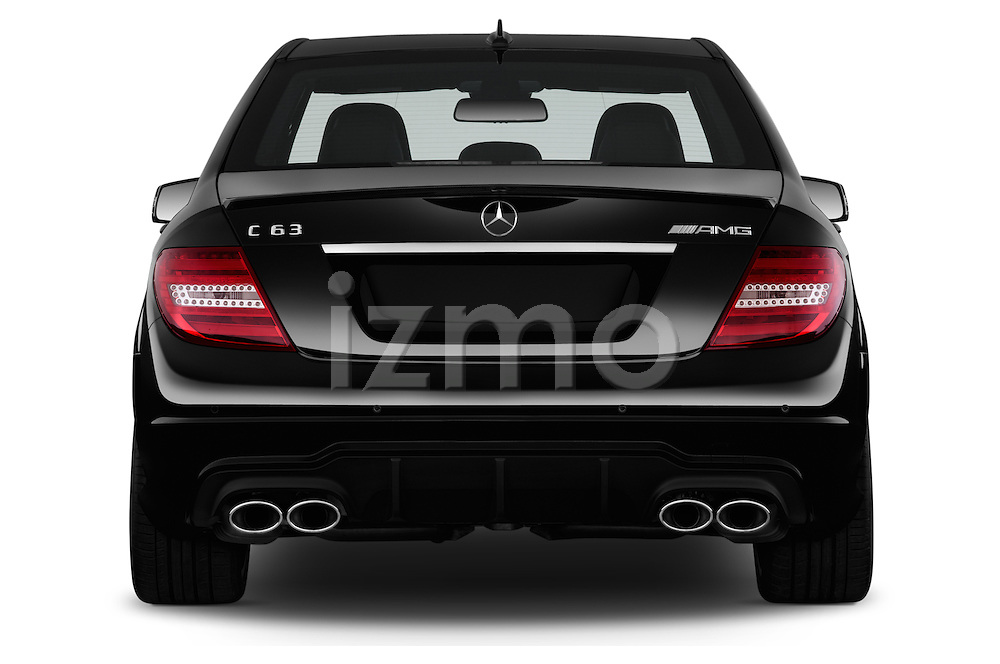 Straight rear view of a 2013 Mercedes C-Class C63 AMG Sedan