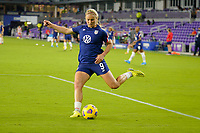 ORLANDO CITY, FL - FEBRUARY 18: Lindsey Horan #9 of the United States warming up during a game between Canada and USWNT at Exploria Stadium on February 18, 2021 in Orlando City, Florida.