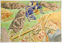 BNPS.co.uk (01202 558833)Pic: DominicWinter/BNPS<br /> <br /> October 1940 - 'Stretcher Party collecting bodies, Hampstead'<br /> <br /> Unseen harrowing drawings which vividly capture the horrors of the Blitz during World War Two have come to light 78 years later.<br /> <br /> Artist Ivor Beddoes began the war as an actor in the West End but quit to become a stretcher bearer as the German bombs rained down on London.<br /> <br /> He made sketches on the spot and then added watercolours later, documenting in graphic detail the devastation caused.<br /> <br /> Beddoes' drawings show bodies strewn on the blood soaked ground as the Luftwaffe did their worst. Others reveal frantic searches for survivors in the rubble of decimated buildings.<br /> <br /> The drawings have emerged for sale with auction house Dominic Winter, of Cirencester, Gloucs. They are expected to fetch £5,000.
