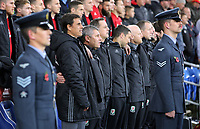 Wales manager Chris Coleman and his colleagues stand for the national anthem during the international friendly soccer match between Wales and Panama at Cardiff City Stadium, Cardiff, Wales, UK. Tuesday 14 November 2017.