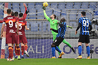 Romelu Lukaku of Inter and Pau Lopez of Roma <br /> during the Serie A football match between AS Roma and FC Internazionale at Olimpico stadium in Roma (Italy), January 10th, 2021. Photo Andrea Staccioli / Insidefoto