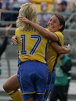 Hanna Ljungberg & Anna Sjoestrom of Sweden celebrate Ljungberg goal. 2003 WWC Sweden vNigeria