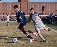 Keegan Rosenberry (12) of Georgetown tries to catch up to Dan Delgado (16) of San Diego during the game at North Kehoe Field in Washington, DC.  Georgetown defeated San Diego, 3-1.