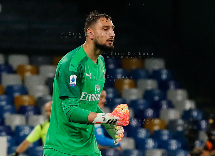 Gianluigi Donnarumma of Milan  during the  italian serie a soccer match,  SSC Napoli - AC Milan       at  the San  Paolo   stadium in Naples  Italy , July 12, 2020